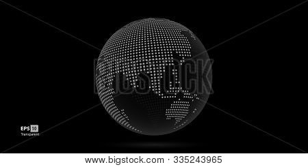 Dotted 3D Vector Globes with World Maps colored. stock photo
