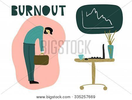 Tired man with a briefcase, head down in front of an office table with a laptop, a mug of coffee. Overwhelmed workaholic has no energy to move on. Professional burnout, low energy. Flat cartoon vector illustration. stock photo