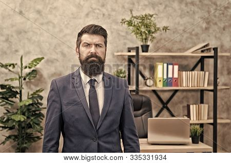 Recruiter professional occupation. HR manager. Man bearded manager recruiter in office. Recruiter career. Human resources. Hiring concept. Recruitment department. Job interview. Welcome team member. stock photo