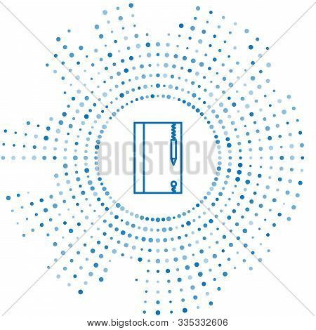 Blue line Underwater note book and pencil for snorkeling icon isolated on white background. Water writing slate or tablet with pen. Abstract circle random dots. Vector Illustration stock photo