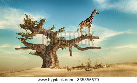 Giraffe standing on a tree.. 3d render illustration stock photo