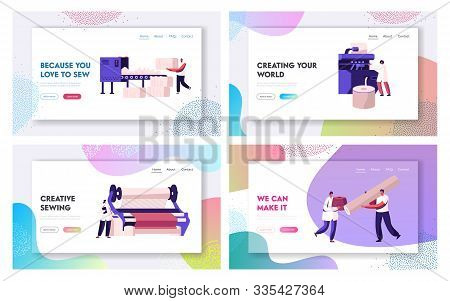 Fiber Creating Industry Website Landing Page Set. Employees Working on Textile Manufacturing Factory Producing Fabric Cloth Using Machinery Automation Web Page Banner. Cartoon Flat Vector Illustration stock photo