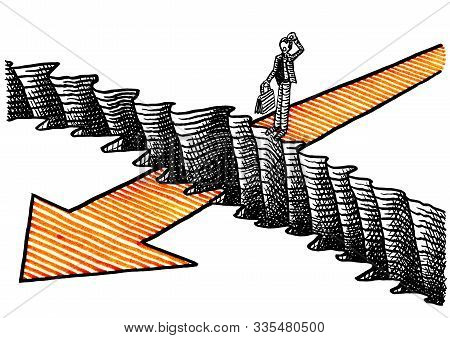 Freehand drawing of business man standing on edge of ravine which poses obstacle in his way forward to future success. Metaphor for challenge ahead, facing adversity, entrepreneurship, risk, leader. stock photo
