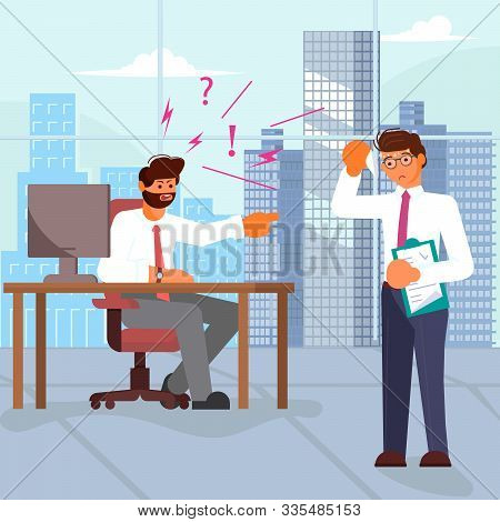 Boss scolds and pointing index finger at employee on office background. Bad luck and stressful situations concept. Flat Art Vector illustration stock photo