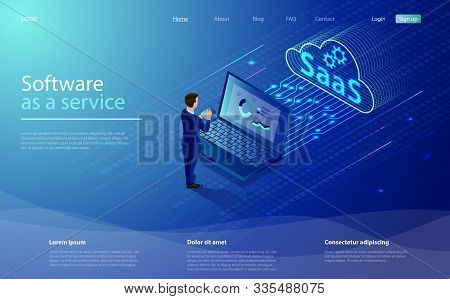 SaaS, software as a service. Cloud software on computers. Cloud software on computers, codes, app server and database. Saas software as a service business concept with character businessman. stock photo