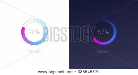 Progress of loading for mobile apps. Icons of modern 3D web preloader of updates on light and dark background. Radial load, upgrade or download diagram. Progress bar with percentage of progress stock photo