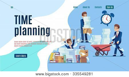 Time management landing. Stop unorganized work web page for effective business vector organizing of job technology concept stock photo