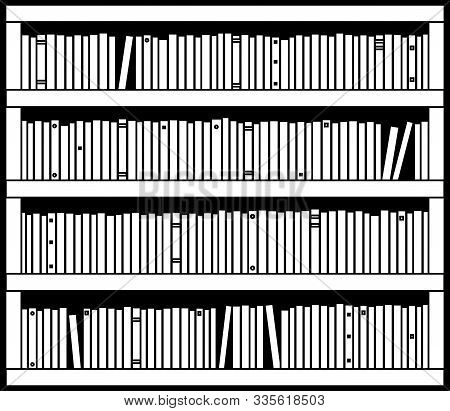 Bookcase. Various book on a white background. Silhouette. Vector illustration. stock photo