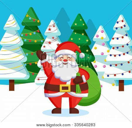 Santa Claus standing with green sack of presents for children in forest. Christmas time in december, traditional winter holiday. Unreal character in red warm clothes among fir trees in wood, vector stock photo