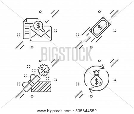 Accounting report, Sale and Fast payment line icons set. Money exchange sign. Check finance, Gift box, Finance transfer. Cash in bag. Finance set. Line accounting report outline icon. Vector stock photo