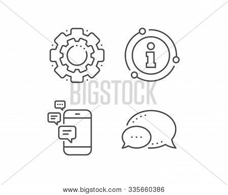 Communication line icon. Chat bubble, info sign elements. Smartphone chat symbol. Business messages sign. Linear communication outline icon. Information bubble. Vector stock photo