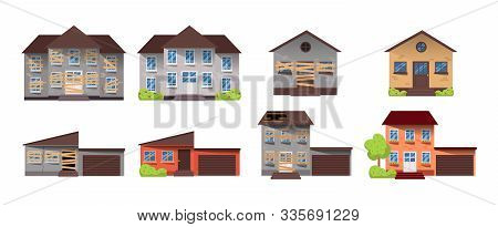 Home renovation. House before and after repair. New and old suburban cottage. Remodel building. Vector illustration stock photo