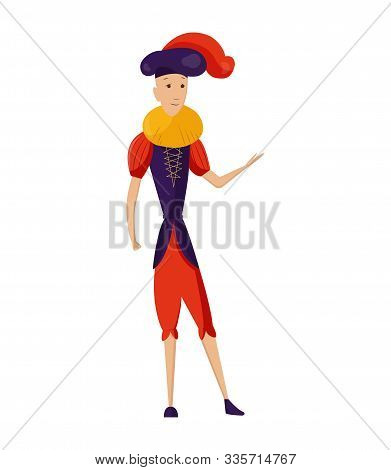 Renaissance clothing vector man character in medieval fashion vintage dress. Historical royal clothes illustration. Baroque people in artistic costume cloth isolated on white background stock photo
