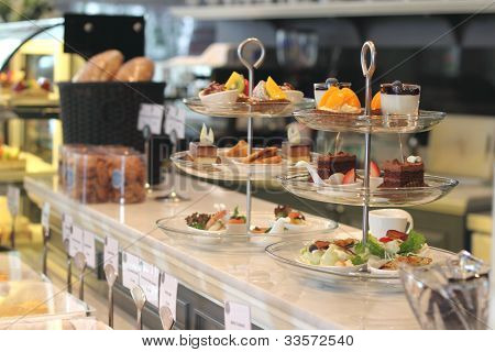 Afternoon tea set in a bakery shop stock photo