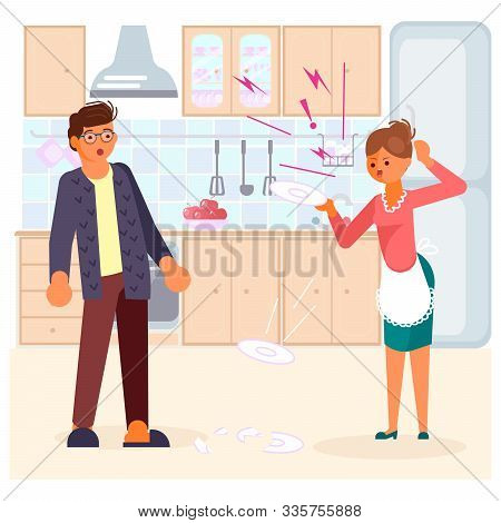 Man in shock looks at his wife. Woman scandals and beats dishes on kitchen background. Bad luck and stressful situations concept. Flat Art Vector illustration stock photo