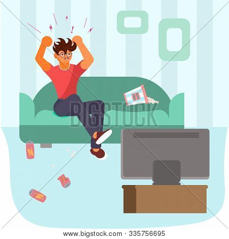 Sport fan sits on the sofa in front of the TV and gets angry over losing the team. Bad luck and stressful situations concept. Flat Art Vector illustration stock photo