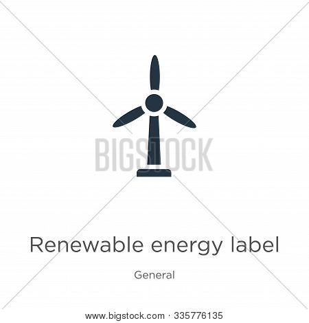 Renewable energy label icon vector. Trendy flat renewable energy label icon from general collection isolated on white background. Vector illustration can be used for web and mobile graphic design, stock photo