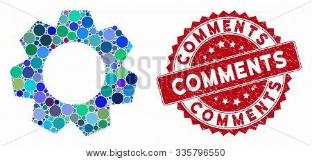 Mosaic gear and distressed stamp seal with Comments text. Mosaic vector is formed with gear icon and with random circle spots. Comments seal uses red color, and rubber texture. stock photo