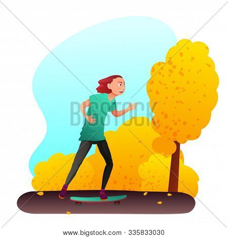 Teenager on skateboard flat vector illustration. Young smiling skateboarder, skater in summer clothes cartoon character. Skateboarding hobby, extreme leisure. Outdoor recreation, active pastime stock photo