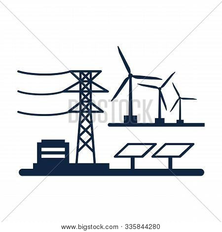 Ecology power concept. New energy type. Alternative energy. Alternative wind energy station. New eco energy vector illustration. Ecology concept.Global wind day 15 jun. Alternative energy type. stock photo