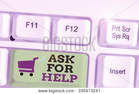 Text sign showing Ask For Help. Conceptual photo Request to support assistance needed Professional advice. stock photo