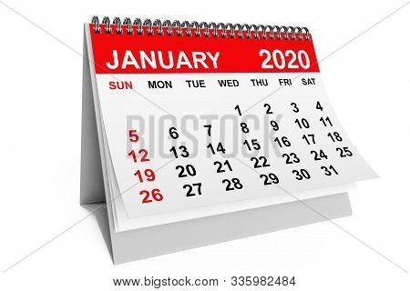 2020 Year January Calendar on a white background. 3d rendering stock photo