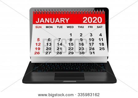 2020 year calendar. January calendar over laptop screen on a white background. 3d rendering stock photo