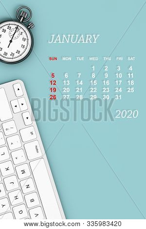 2020 year calendar. January calendar with Stopwatch and Keyboard. 3d Rendering stock photo