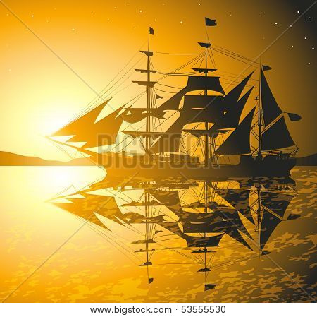 Old Ship Sailing Open Seas , vector illustration, file Eps (10) stock photo