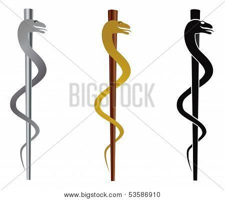 Rod of Asclepius Medical Symbol Isolated on White Background Illustration stock photo