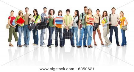 Large group of smiling students. Isolated over white background stock photo