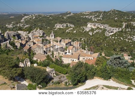 Aerial view of famous village Les Baux-de-Provence (Provence France). Horizontally. stock photo