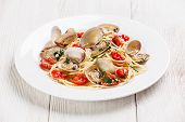 Seafood Pasta With Clams In Tomato Sauce Spaghetti Alle Vongole On White Wooden Background