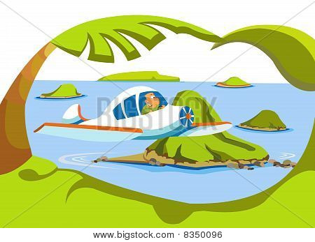 Cartoon illustration. Happy man flying on a plane over the islands. stock photo
