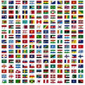 Flags of the world and guide on white foundation. Vector illustra
