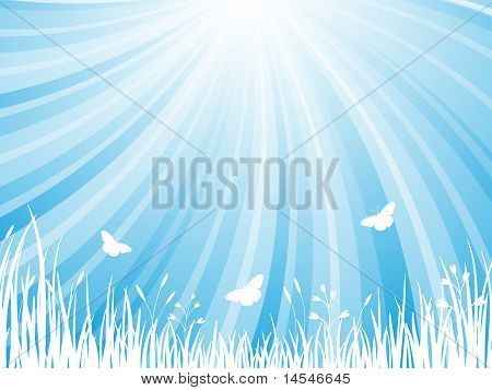 The abstract blue natural background. Vector 