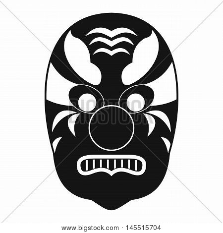 Tribal mask icon in simple style isolated on white background. Accessory symbol stock photo