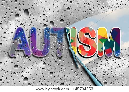 Autism awareness and autistic disorders concept as cloudy blurred text with a wiper clearing the confusion exposing a sharp understanding of the neurological syndrome with 3D illustration elements. stock photo