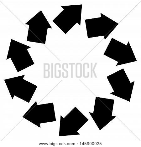 Concentric arrows symbol to illustrate rotation gyration torsion turning concepts stock photo