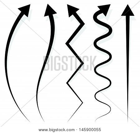 Set of 5 different long vertical arrow elements with shadow stock photo