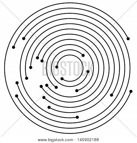 Random concentric circles with dots. Circular spiral design element. stock photo