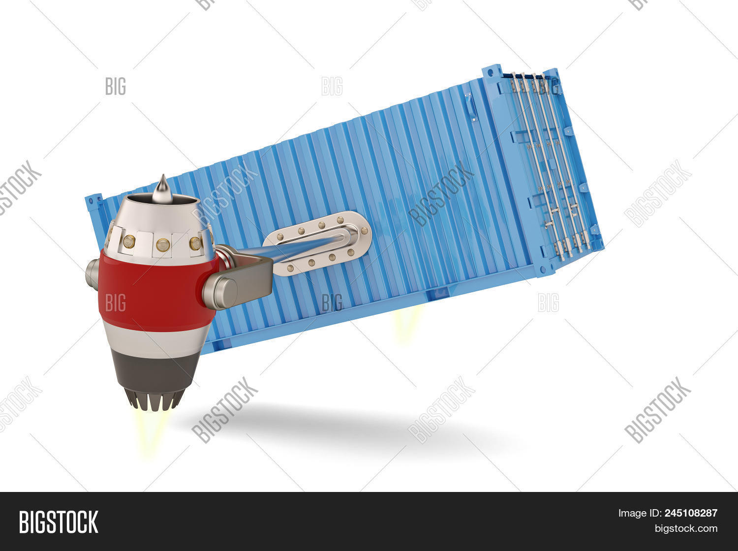 Jet engine with shipping container on a white background.3D illustration