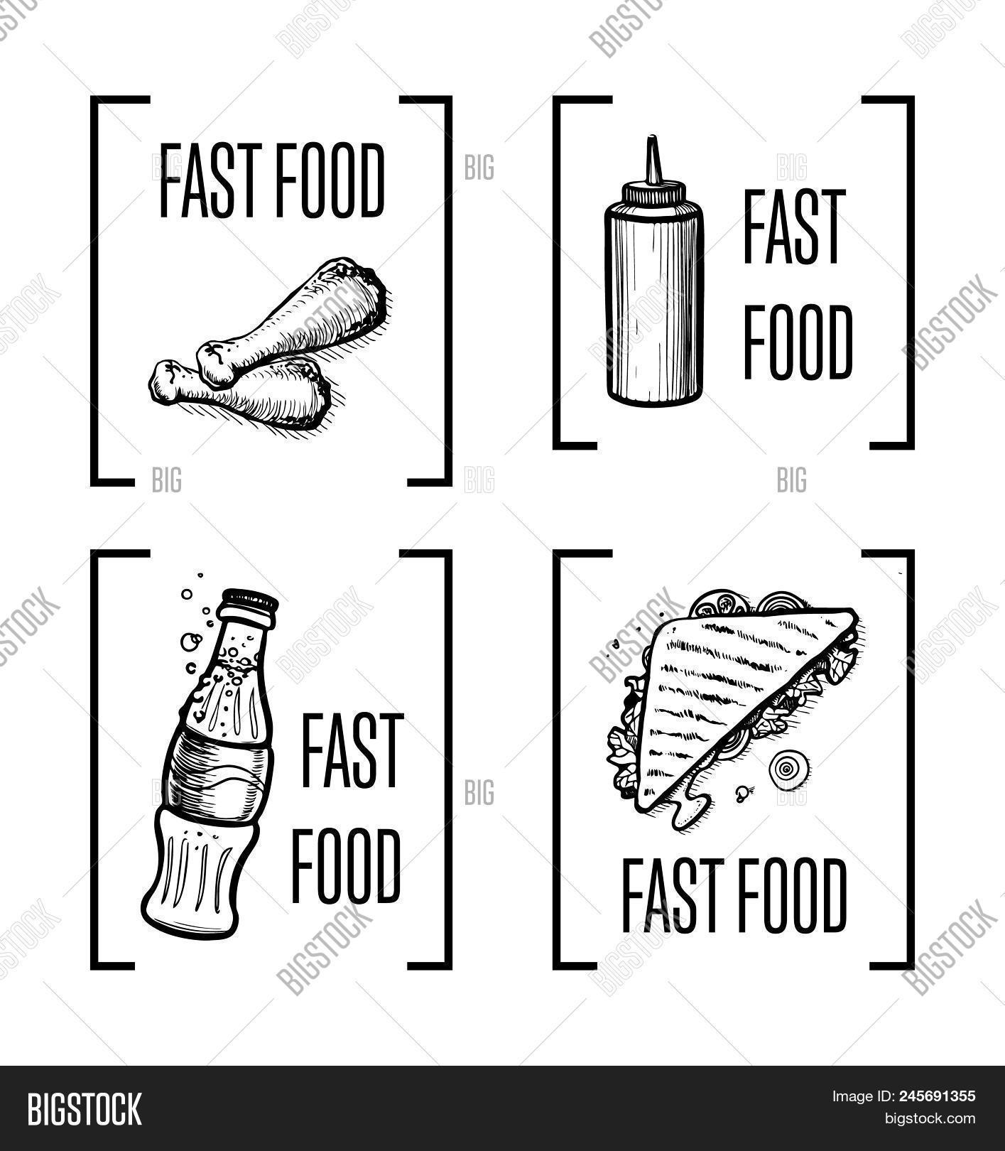 Fast Food Hand Drawn Symbol Set Vintage Isolatedelements Of