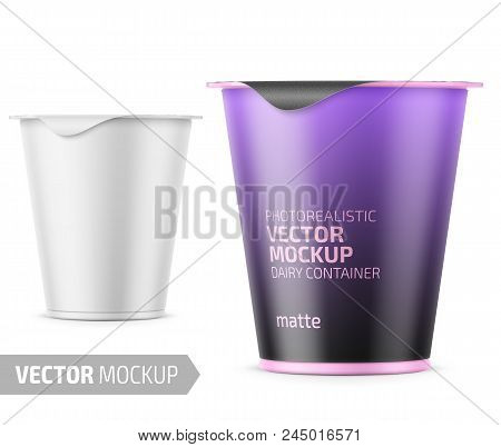 Round plastic pot with matte carton wrap and foil cover for dairy products, yogurt, cream, dessert. 290 g. Realistic packaging mockup template with sample design. Vector illustration. stock photo