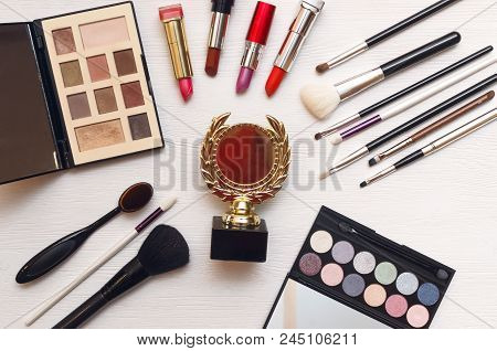 Best make up designer or stylist or visagist award ceremony with awarding of the gold medal. stock photo