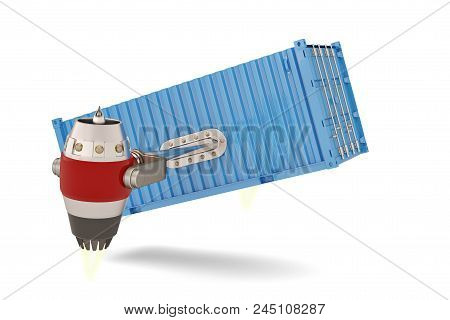 Jet engine with shipping container on a white background.3D illustration stock photo