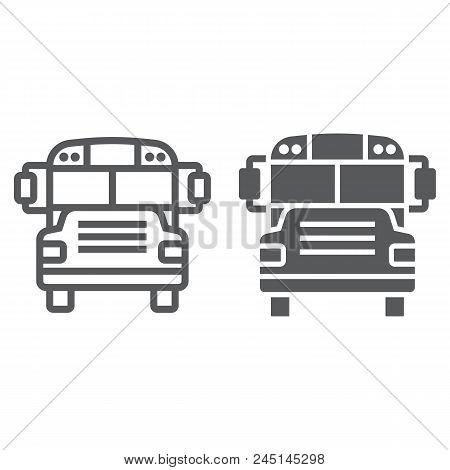 School bus line and glyph icon, school and education, transportation sign vector graphics, a linear pattern on a white background, eps 10. stock photo