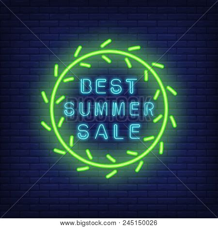 Best summer sale neon sign in green circle. Green circle with lettering inside. Night bright advertisement. Vector illustration in neon style for retail outlet and benefit stock photo