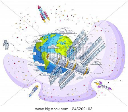 Space station flying orbital spaceflight around earth, spacecraft spaceship iss with solar panels, artificial satellite, with rockets, stars and other elements. Thin line 3d vector illustration. stock photo