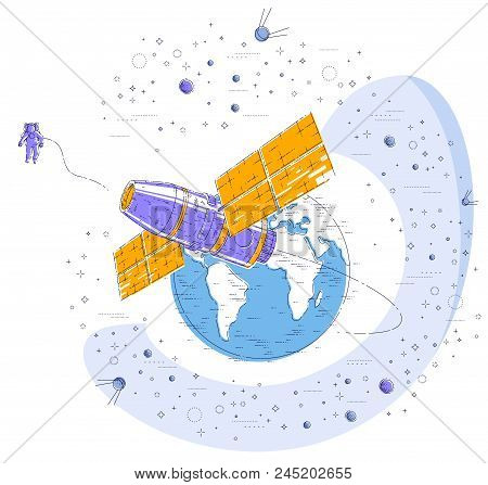 Space station flying orbital flight around earth, spacecraft spaceship iss with solar panels, artificial satellite, surrounded by stars and other elements. Thin line 3d vector illustration. stock photo